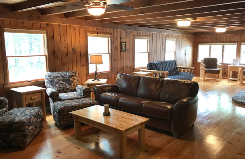 Cottage living room at Westward Shores Camping Resort.