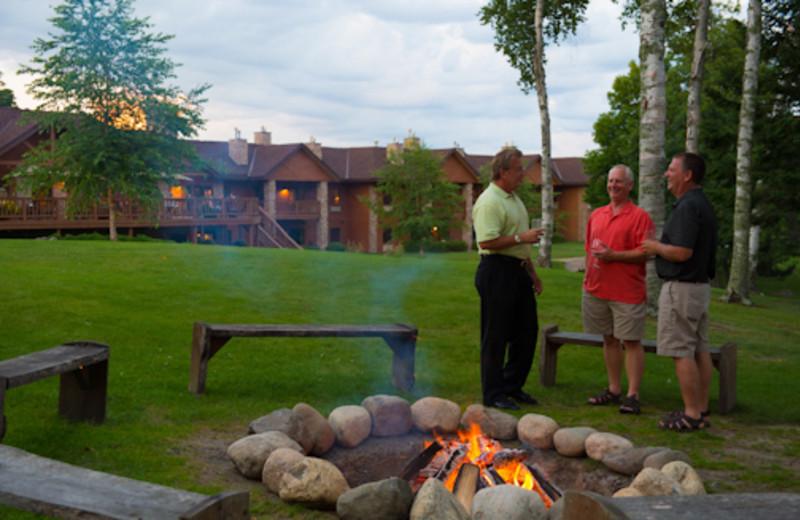 Campfire area at Sugar Lake Lodge.