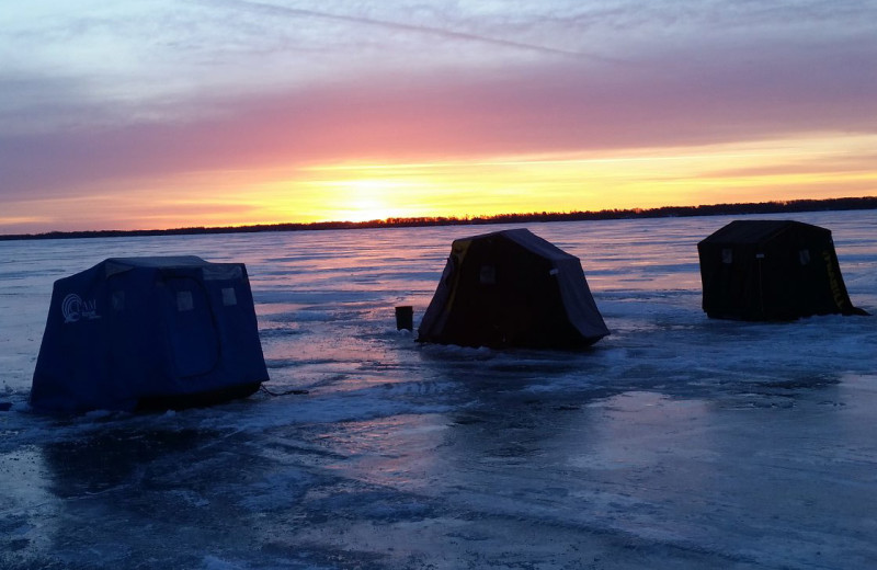 Ice fishing at Barky's Resort.