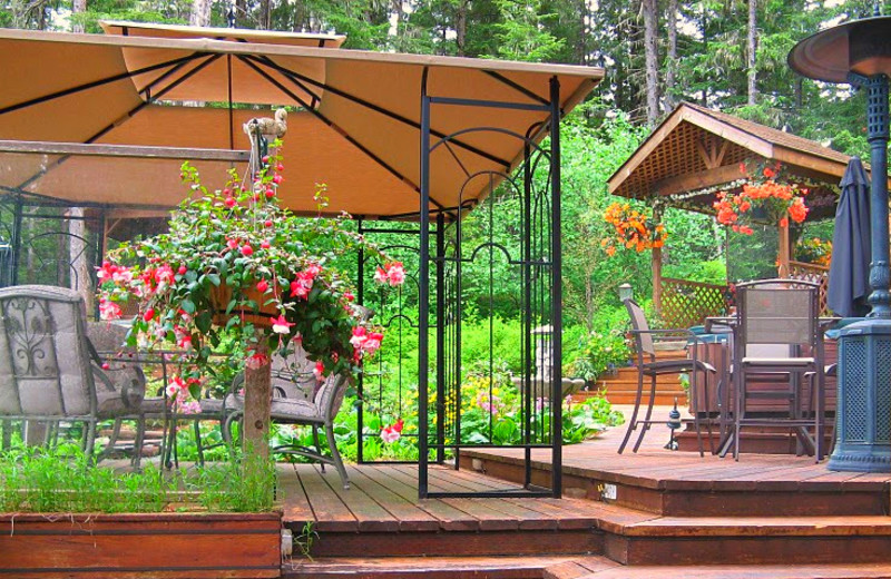 Outdoor patio at A Pearson's Pond Luxury Suites and Adventures.