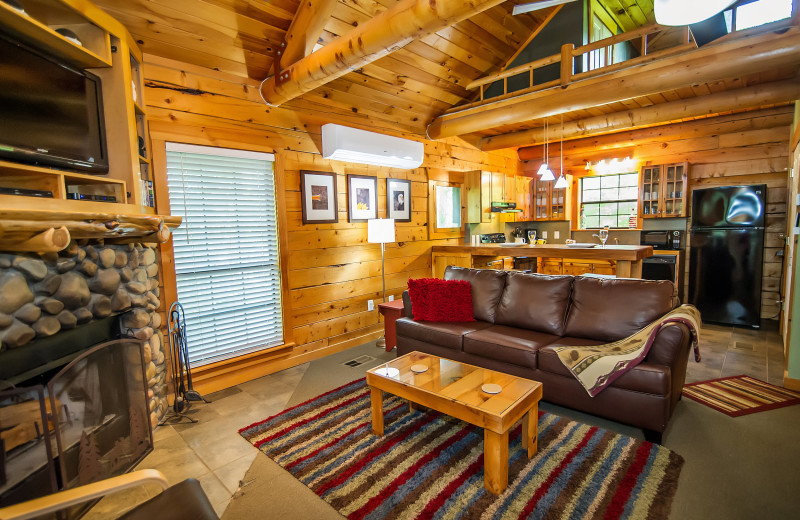Cabin interior at Kiamichi Country Cabins.