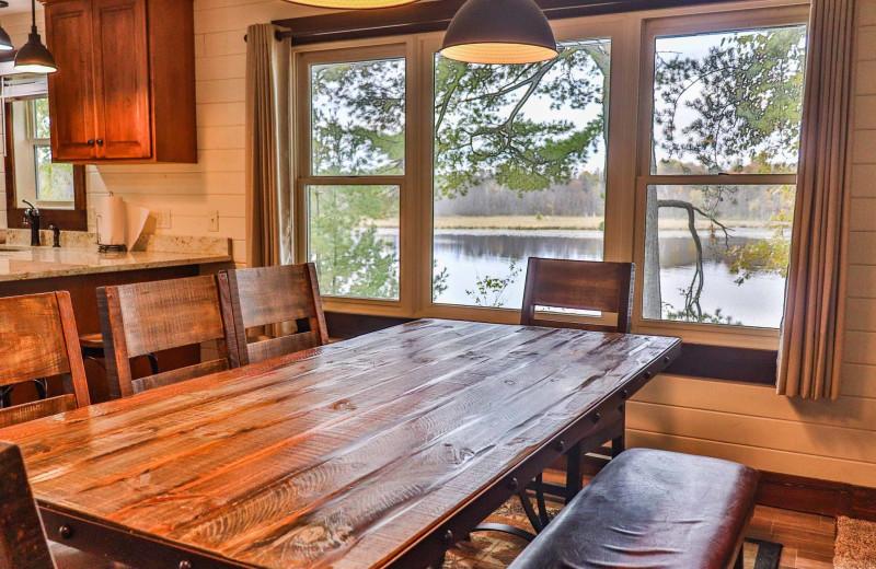 Cabin dining room at Lost Lake Lodge.