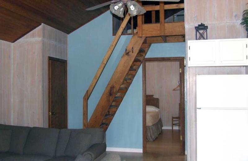 Cabin interior at Buzzard Rock Resort and Marina.