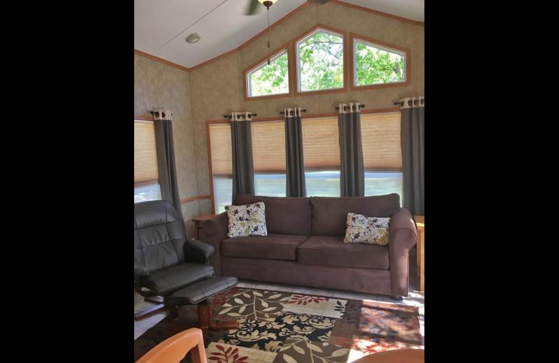 Cabin living room at Sullivans Resort & Campground.