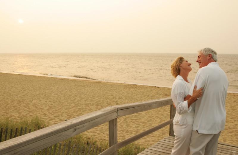 Couple on beach at New Seabury Resort.