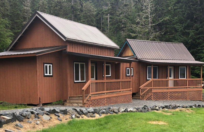 Cabin exterior at Alaska's Big Salmon Lodge.