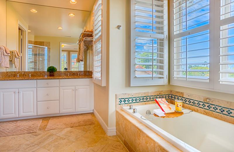 Vacation rental bathroom at Seabreeze Vacation Rentals, LLC.