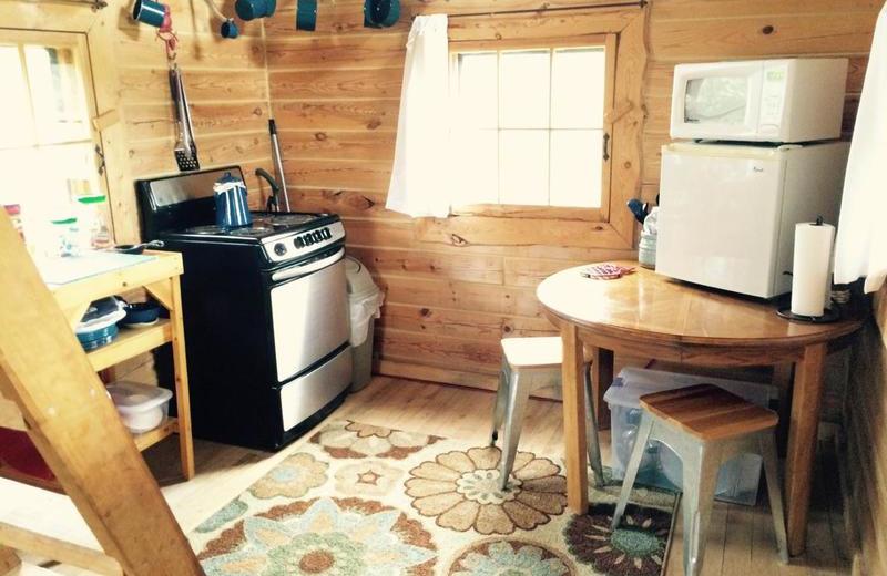 Cabin kitchen at Black Lantern Resort and Retreat.