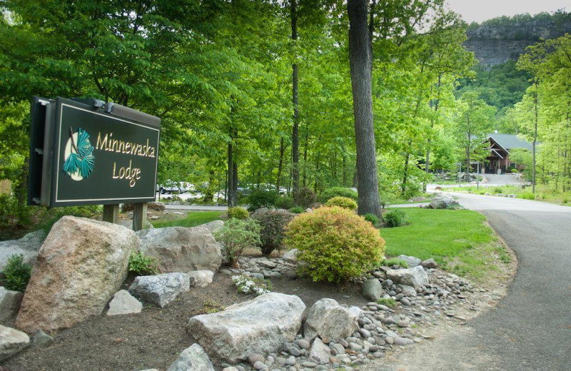 Welcome sign at Minnewaska Lodge.