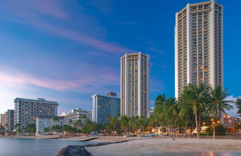 View from beach of property at Hyatt Regency Waikiki Resort & Spa.