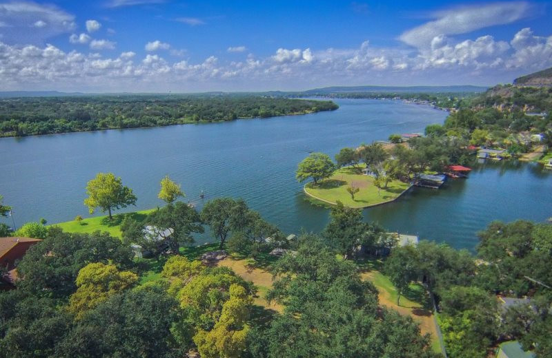 Aerial view of Shady Grove Vacation Home on Lake LBJ.