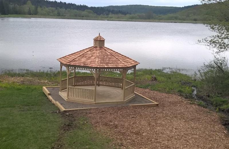 Lake view at The Woods At Bear Creek Glamping Resort.