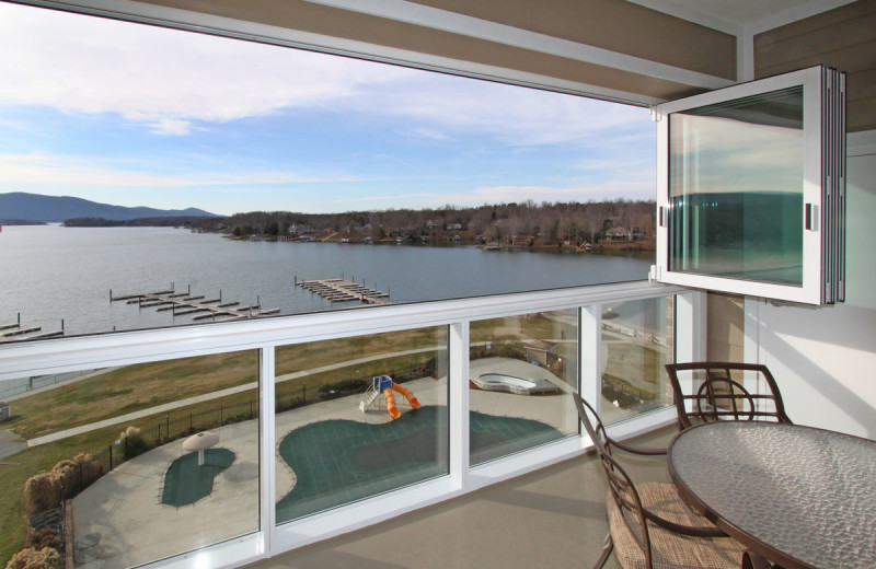 Rental balcony at Premier Vacation Rentals @ Smith Mountain Lake.