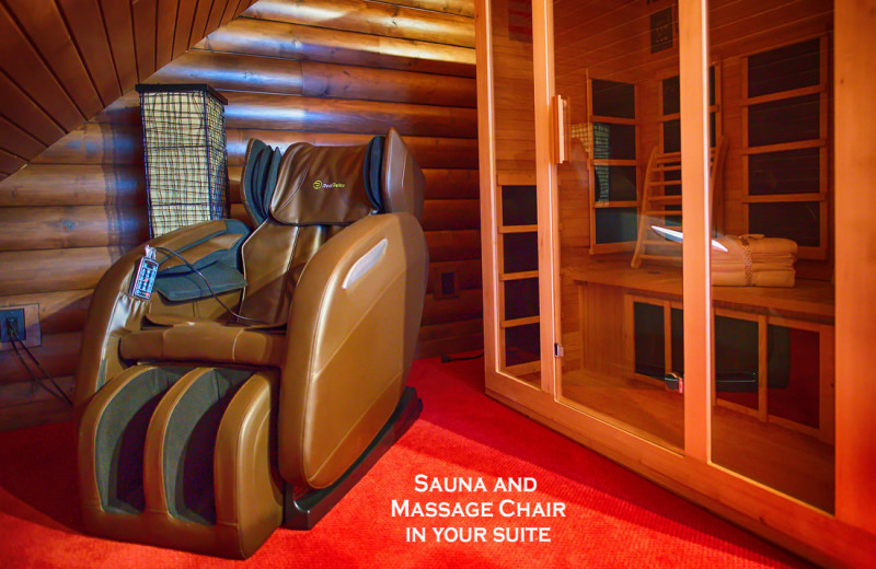 Cabin sauna at Cut Above Cabins.
