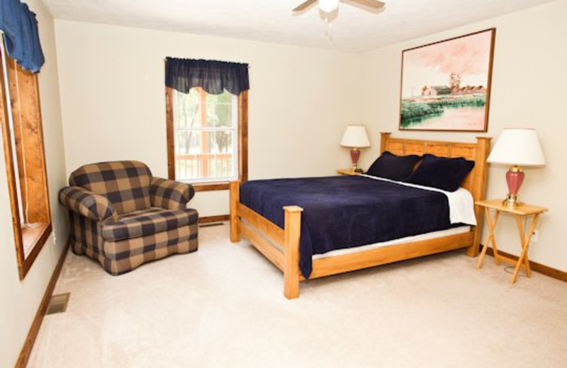 King bed at Willowbrook Cabins.