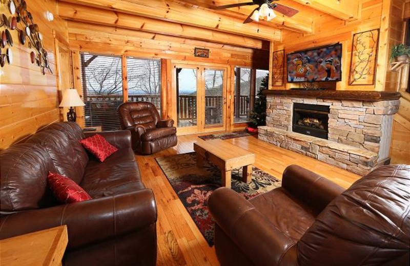 Cabin living room at Eden Crest Vacation Rentals, Inc. - Rising Eagle Lodge.