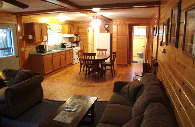 Cabin interior at Acorn Hill Resort.