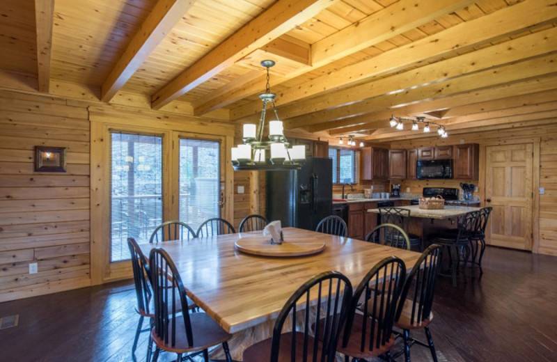 Cabin kitchen at Cut Above Cabins.
