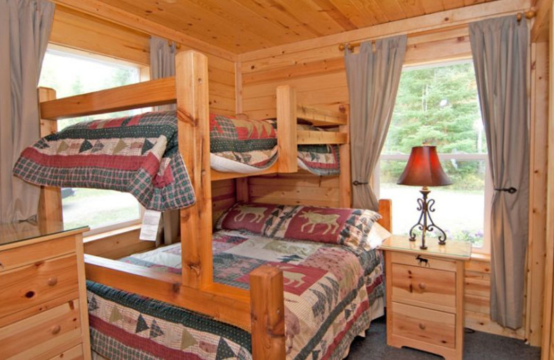 Cabin bedroom at Moose Track Adventures Resort.