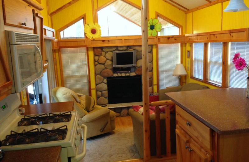 Cabin interior at Lakeside Cabins Resort.