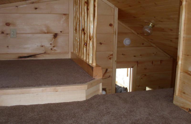 Cabin loft at Edinboro Lake Resort.