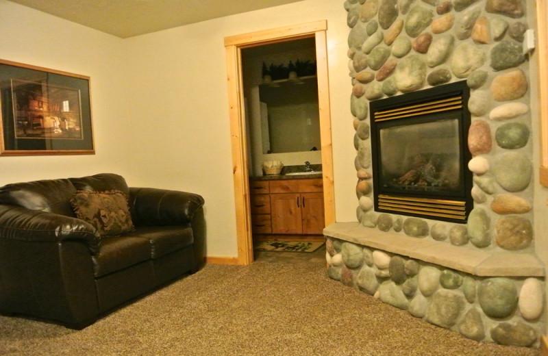 Cabin fireplace at Sawtelle Mountain Resort.