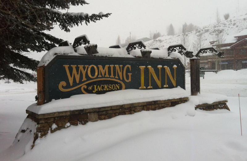 Winter sign at Wyoming Inn of Jackson Hole.
