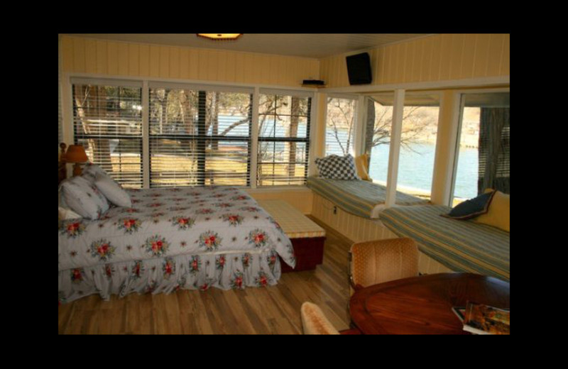 Cabin bedroom at Cool Water Cabin Rental - Lake LBJ.