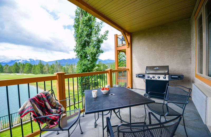 Guest balcony at Bighorn Meadows Resort.