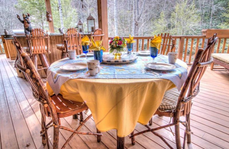 Patio dining at The Lodge at River Run.