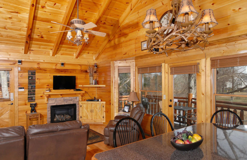 Cabin interior at Fireside Chalets & Cabin Rentals.