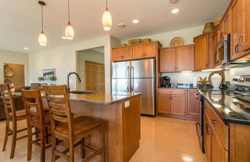 Rental kitchen at Lakes Area Rentals.