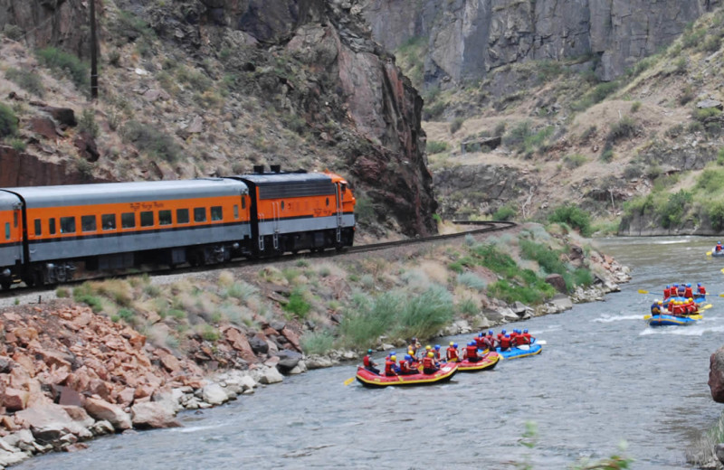 Train and rafting at Rocky Mountain Lodge & Cabins.