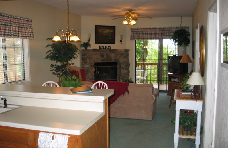 Condo living area at The Village At Indian Point.