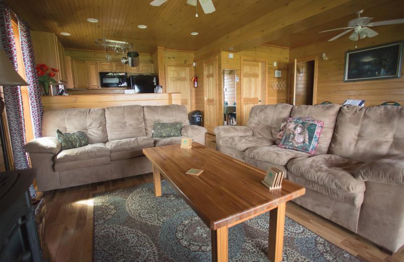 Cabin living room at Cobtree Vacation Rental Homes.