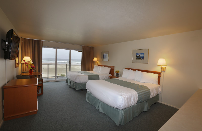 Two bed guest room at Driftwood Shores Resort and Conference Center.