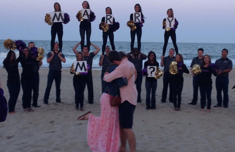 Beach proposal at Clarion Resort Fontainebleau.