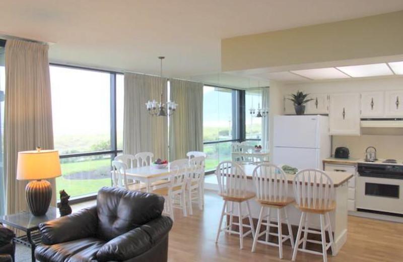 Condo living area at Sand & Sea Condominums.