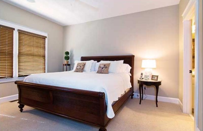 Vacation rental bedroom at Greybeard Rentals.