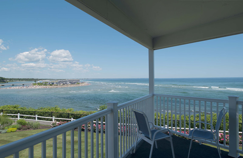 Guest balcony at The Sparhawk Oceanfront Resort.