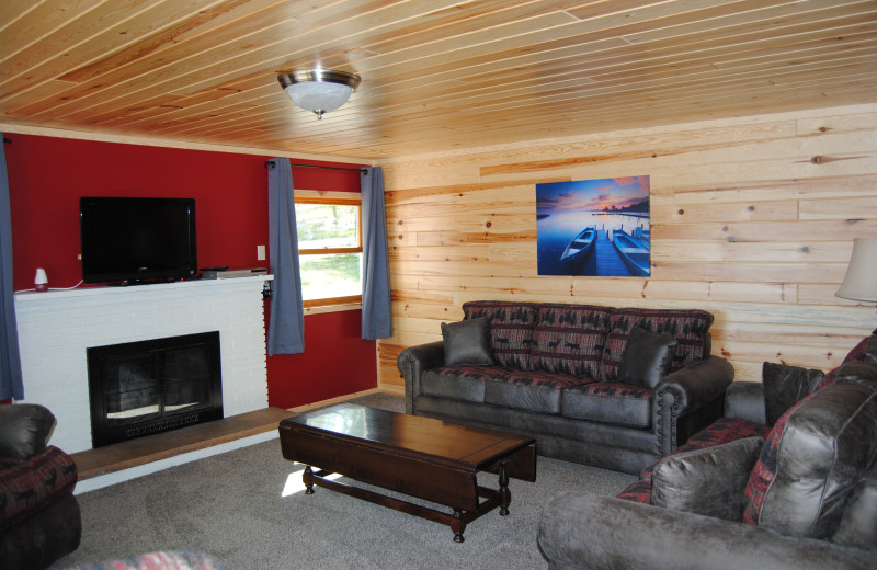 Cabin living room at Sandy Pines Resort.