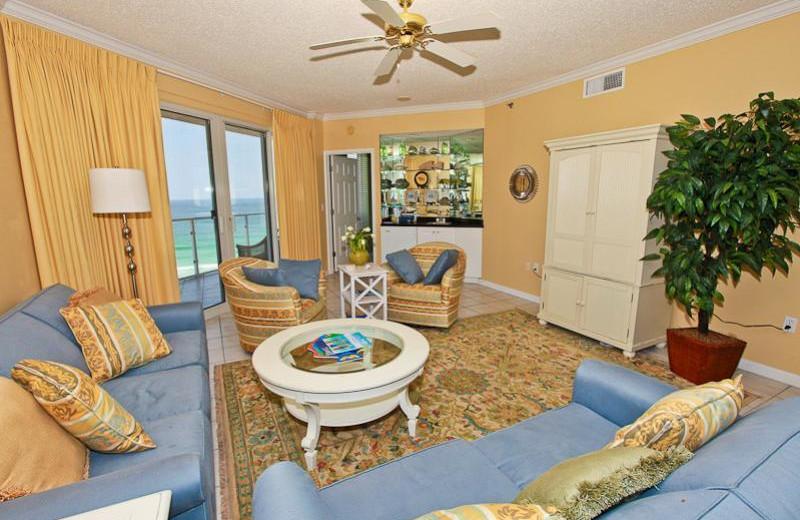 Rental living room at Sterling Sands Condominiums.