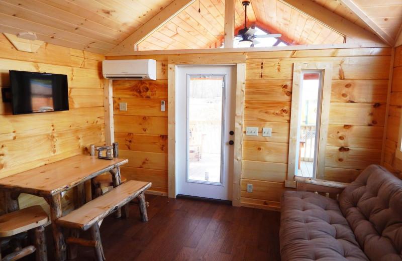 Cabin interior at Yogi Bear's Jellystone Park Gardiner.