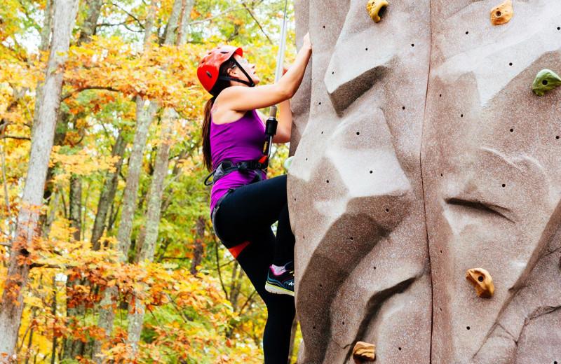 Climbing wall at Woodloch Resort.