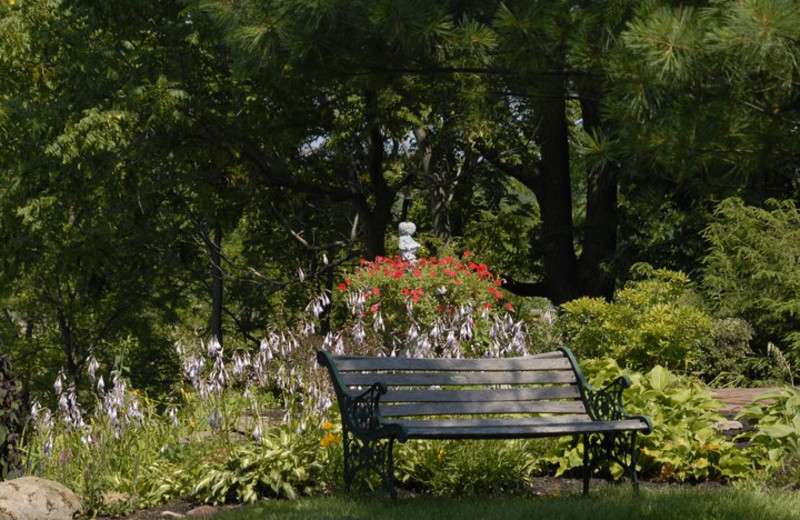 Bench by the garden at Morgan Samuels Inn.