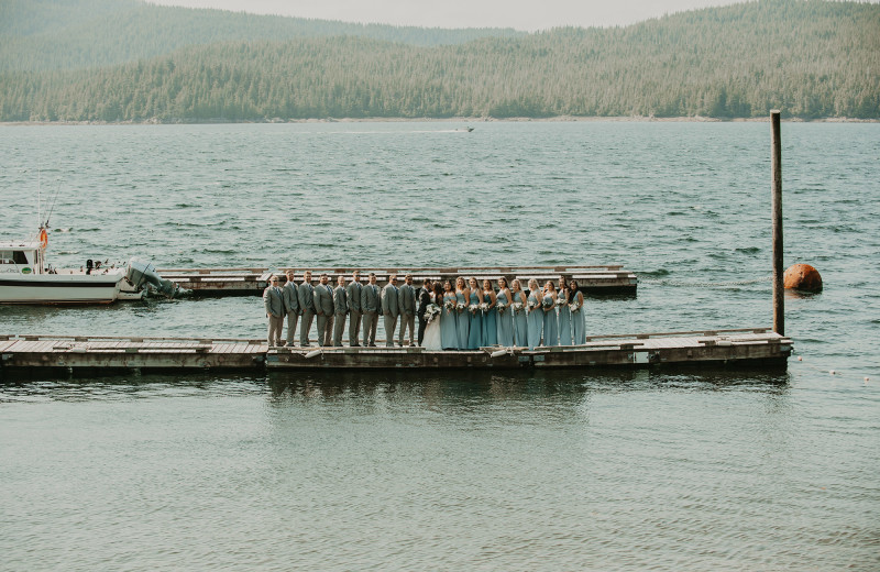 Wedding Party on the dock for a wedding at Salmon Falls Resort.