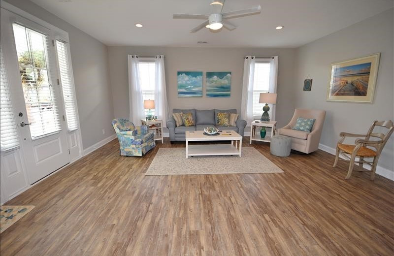 Rental living room at Barefoot Resort Rentals.