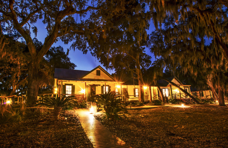 Hunting Lodge at night at the Lodge on Little St. Simons Island.