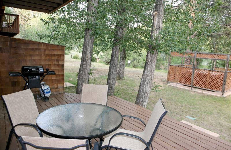 Condo patio at Bear Creek Vacation Condos.