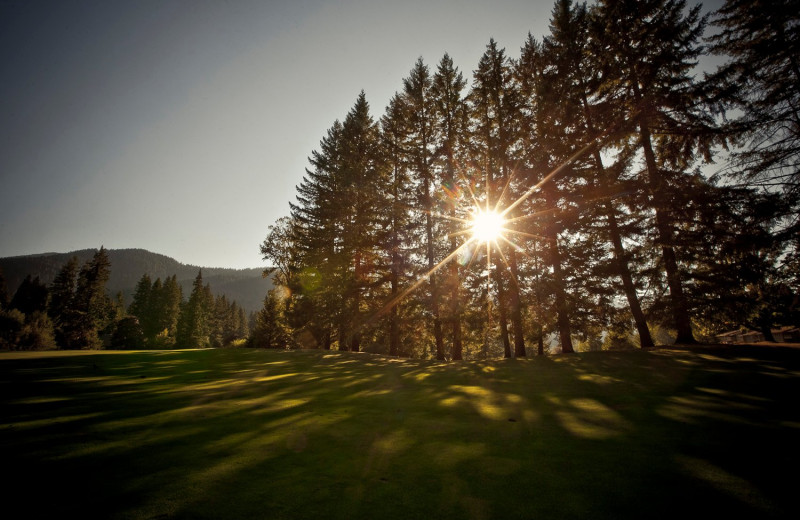 Sunset over golf course at The Resort at the Mountain.